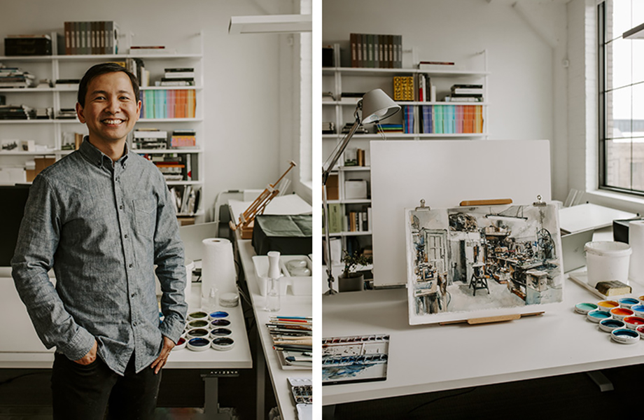 Kar-Keat Chong in his art studio with canvas and paints, featuring FENIX innovative materials