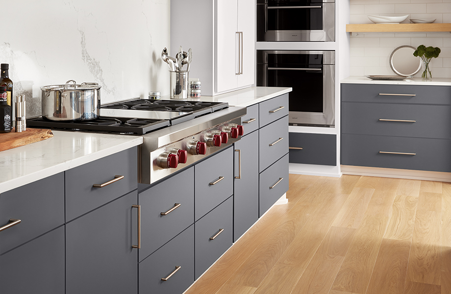 J0757 Bianco Dover J0724 Grigio Bromo kitchen cabinets