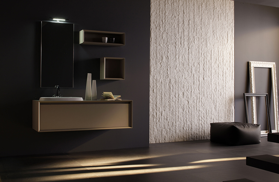 J0719 Beige Luxor bathroom cabinet with sink, textured wall and picture frames