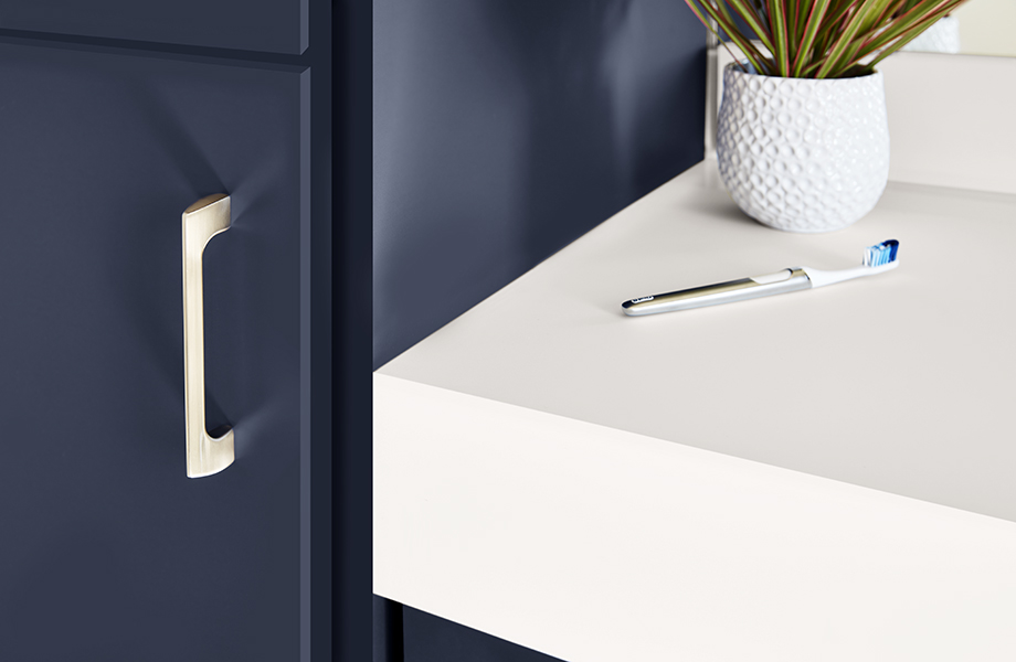 Anti-fingerprint J0029 Bianco Male white countertop and plant with J0754 Blu Fes cabinet with gold handle