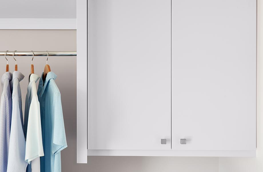 J0030 Bianco Alaska matte white laundry room cabinet with hanging shirts