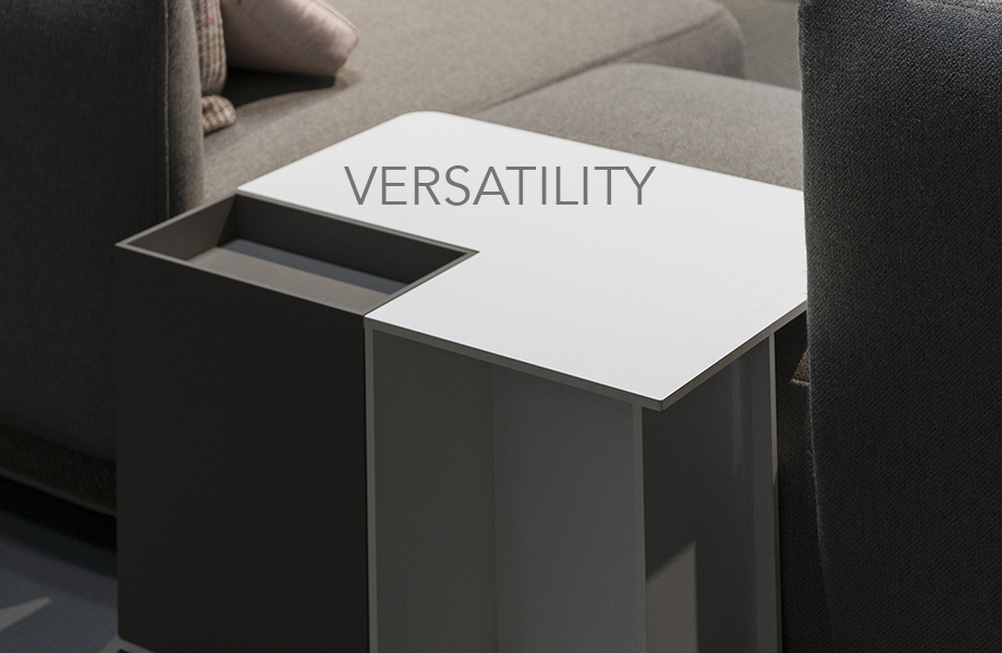 Coffee table made of FENIX innovative materials with the word Versatility on top of the image