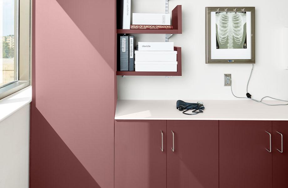 armoires dans un centre de soins de sané FENIX J0751 Rosso Jaipur J 0029 Bianco Male